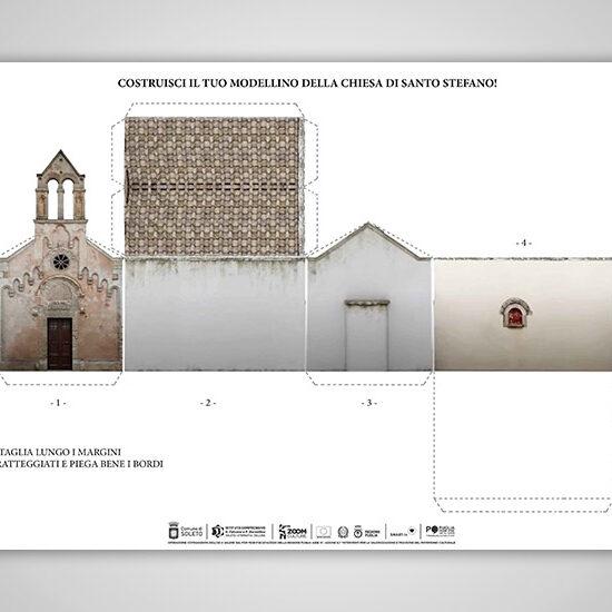 L'immagine mostra la scheda per costruire il modellino tridimensionale dell'esterno della chiesa di Santo Stefano