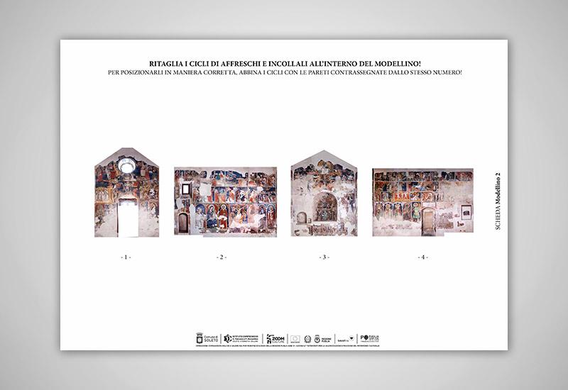 L'iimmagine mostra la scheda per costruire il modellino tridimensionale dell'interno della chiesa con i suoi cicli di affreschi