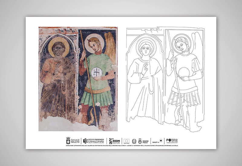 l'immagine mostra una scheda cartacea per scoprire le differenze stilistiche tra due personaggi presenti negli affreschi della chiesa di Santo stefano, S.Simone e l'Arcangelo MIchele