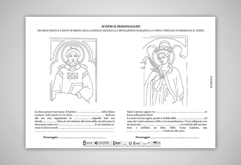 l'immagine mostra una scheda cartacea utile per individuare alcuni personaggi chiave degli affreschi della chiesa di Santo Stefano con il disegno dei riquadri dove sono presenti e un piccolo testo da completare con informazioni dettagliate