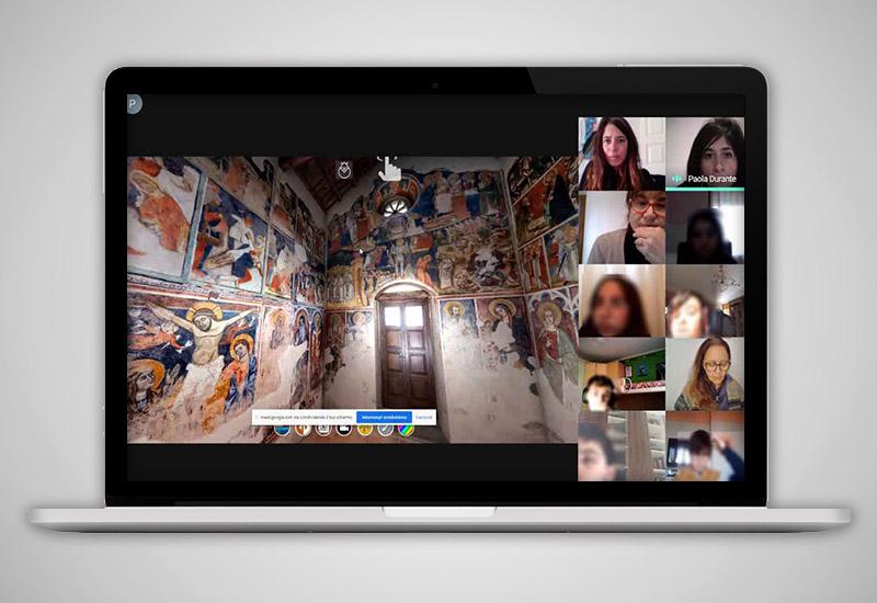 L'immagine mostra uno screenshot della lezione in DAD sulla chiesa di Santo Stefano col l'esplorazione del tour virtuale