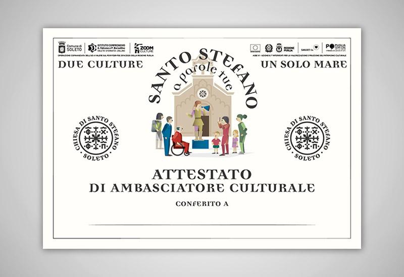 L'immagine mostra l'attestato di Ambasciatore culturale conferito ai partecipanti del Santo Stefano Lab